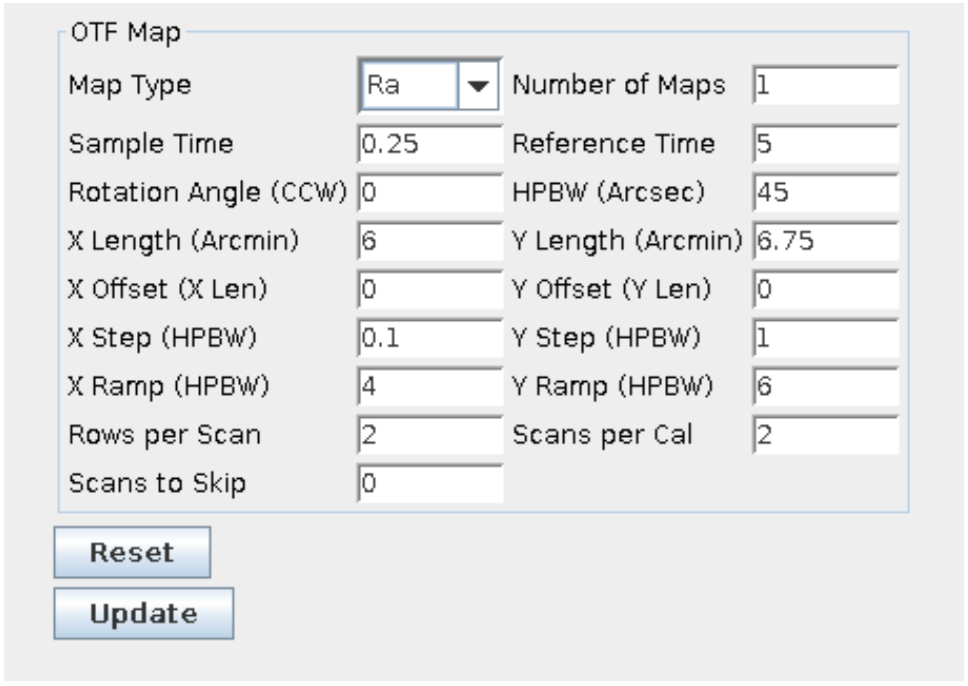 An example of OTF mapping parameters